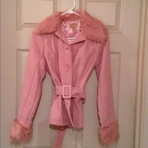 Pink coat with faux fur trim. Never worn. Petite.